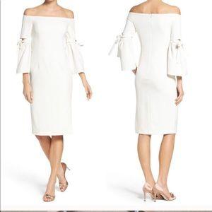 White off the shoulder midi dress
